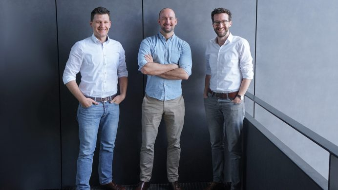 The Magazino Management Board – Lukas Zanger (COO), Frederik Brantner (CEO), Dr. Moritz Tenorth (CTO)
